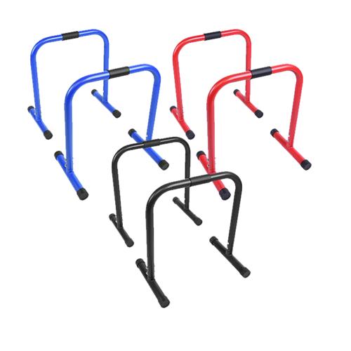 Parallette Push Up Bars - Svart Blå Röd